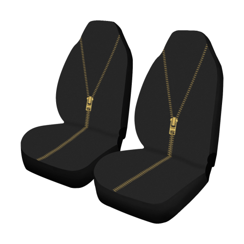 ZIPPER metal gold Car Seat Covers (Set of 2)