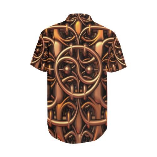 Yin-Yang Metallic Men's Short Sleeve Shirt with Lapel Collar (Model T54)