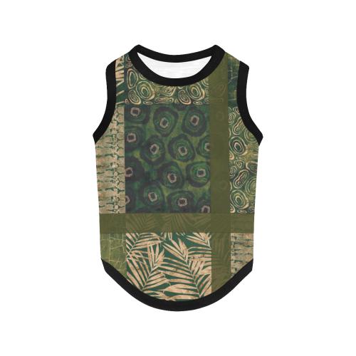 Green  Python Jungle Patchwork All Over Print Pet Tank Top