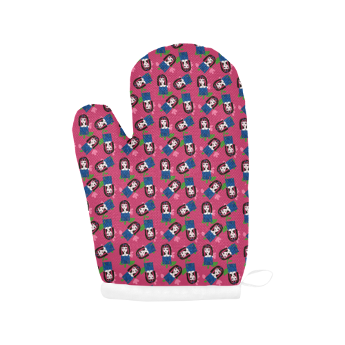 goth girl in blue dress pink pattern Oven Mitt (Two Pieces)