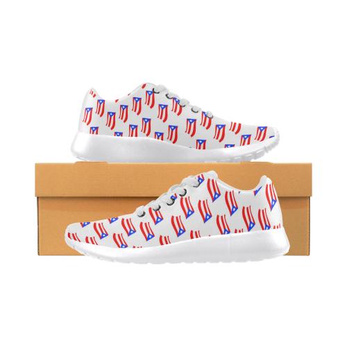 Puerto Rican Flag White Women's Running Shoes (Model 020)