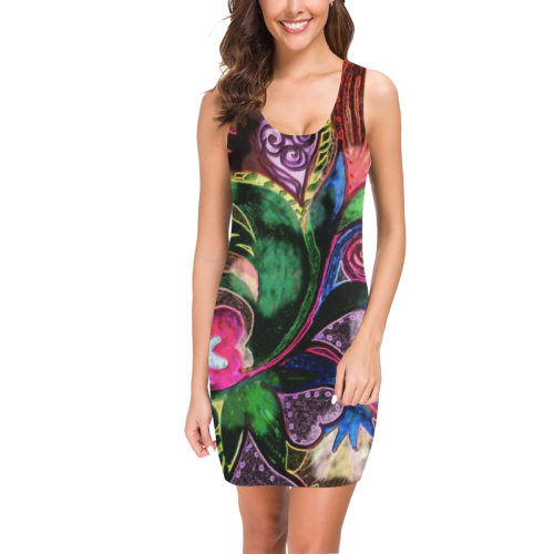 """Tropical Hearts""  - Comfy, sleeveless dress by Creative Devotions - Medea Vest Dress (Model D06)"