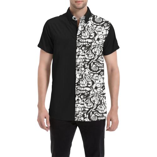Crazy Spiral Shapes Pattern - Black White Men's All Over Print Short Sleeve Shirt (Model T53)