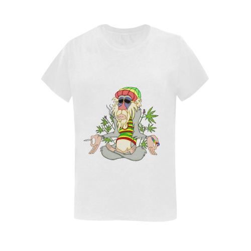 Hippie Ganja Guru White Women's Heavy Cotton Short Sleeve T-Shirt