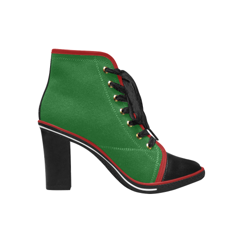 green ugly xmas boots with golden christmas bells and red ribbon Women's Lace Up Chunky Heel Ankle Booties (Model 054)