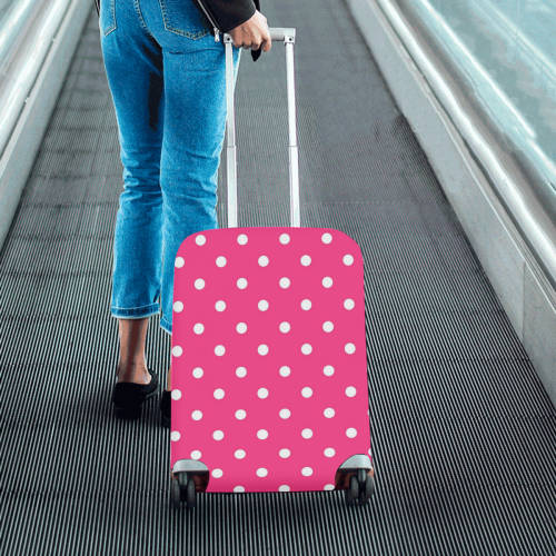 """Hot Pink White Dots Luggage Cover/Small 18""""-21"""""""