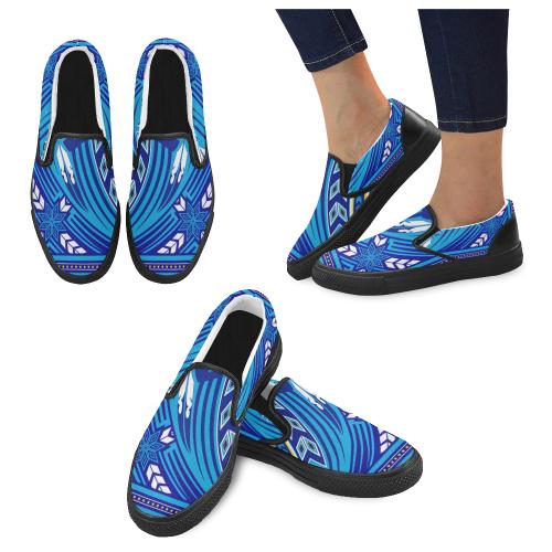 Wind Spirit Blue Men's Slip-on Canvas Shoes (Model 019)