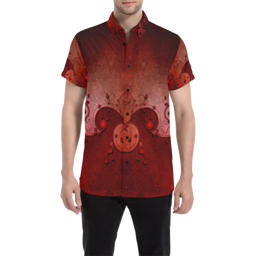 Soft decorative floral design Men's All Over Print Short Sleeve Shirt/Large Size (Model T53)