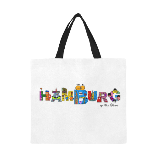 Hamburg Pop by Nico Bielow All Over Print Canvas Tote Bag/Large (Model 1699)