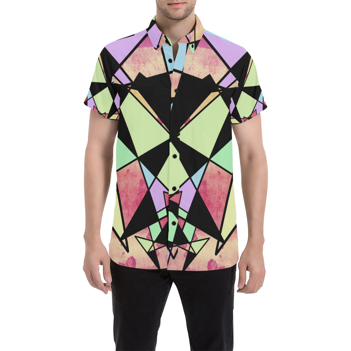 Pastel Triangles Mens Button Down Short Sleeve Shirt