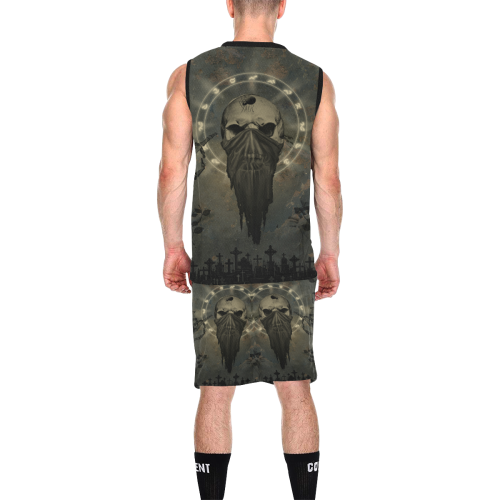 The creepy skull with spider All Over Print Basketball Uniform