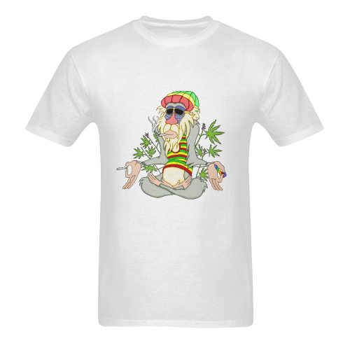 Hippie Ganja Guru White Men's Heavy Cotton T-Shirt (One Side Printing)