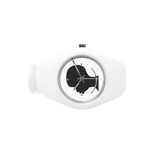 Black Silhouette White Simple Style Candy Silicone Watch (Model 315)