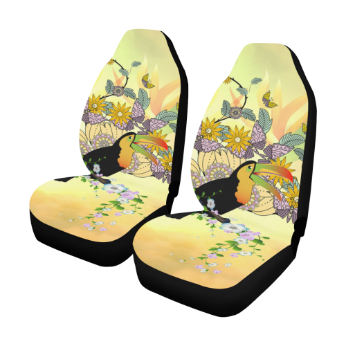 Toucan with flowers Car Seat Covers (Set of 2)