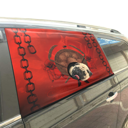 Skulls on red vintage background Pet Car Window Curtain