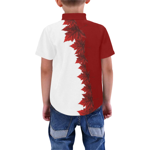 Kid's Canada Maple Leaf Buttondown Boys' All Over Print Short Sleeve Shirt (Model T59)