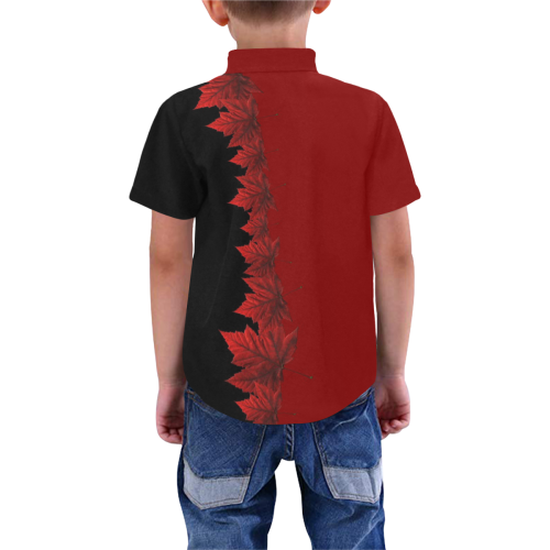 Kid's Canada Maple Leaf Shirts Buttondown Boys' All Over Print Short Sleeve Shirt (Model T59)