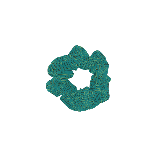 Teal Doodle Squiggle All Over Print Hair Scrunchie