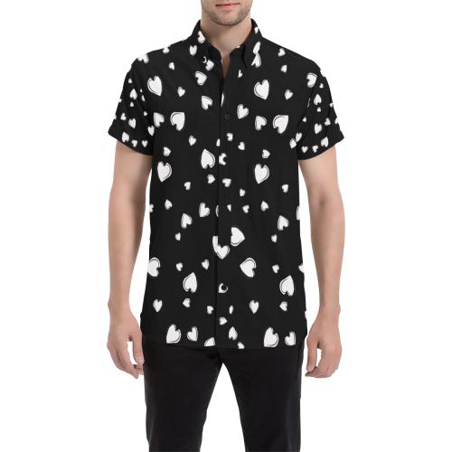 White Hearts Floating on Black Men's All Over Print Short Sleeve Shirt (Model T53)