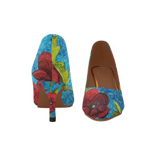 red poppy kitten heel Women's Pointed Toe Low Heel Pumps (Model 053)