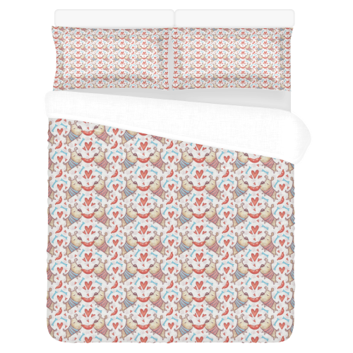 Cute Valentine Dogs in Love 3-Piece Bedding Set