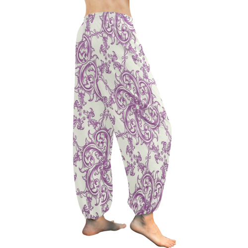 Purple Flower Swirl Women's All Over Print Harem Pants (Model L18)