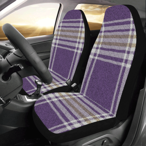 Purple Gold Plaid Car Seat Covers (Set of 2)