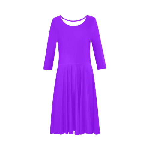 color electric violet Elbow Sleeve Ice Skater Dress (D20)