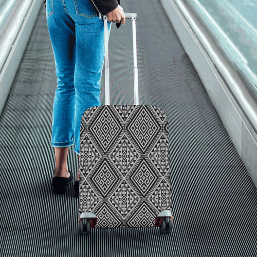 "Geometric Folklore Diamonds Ethno Pattern black Luggage Cover/Small 18""-21"""