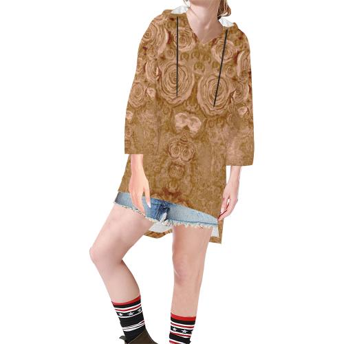 1033 Step Hem Tunic Hoodie for Women (Model H25)