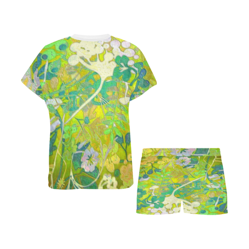 floral abstract in shades of green Women's Short Pajama Set (Sets 01)