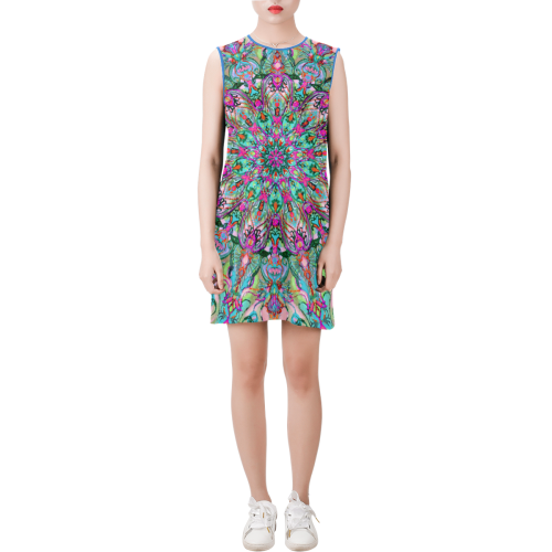 mandala 4 Sleeveless Round Neck Shift Dress (Model D51)