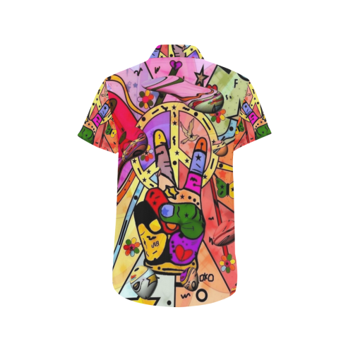 Peace Popart by Nico Bielow Men's All Over Print Short Sleeve Shirt (Model T53)