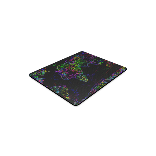 Neon World Map Rectangle Mousepad