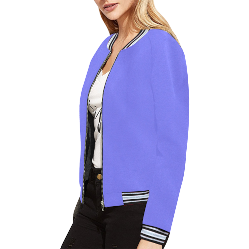 Periwinkle Perkiness All Over Print Bomber Jacket for Women (Model H21)