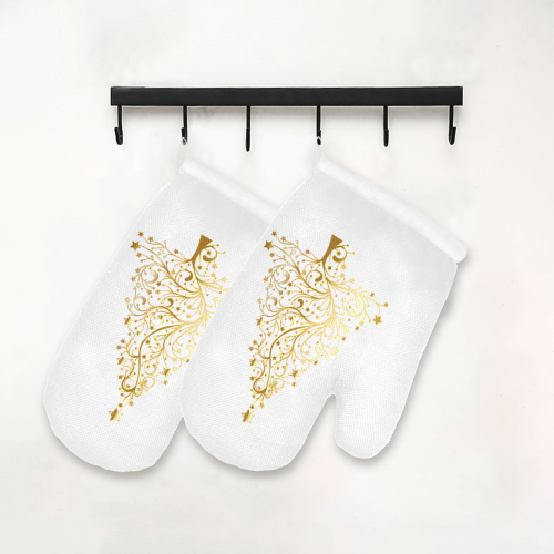 Golden Christmas Tree Oven Mitt (Two Pieces)