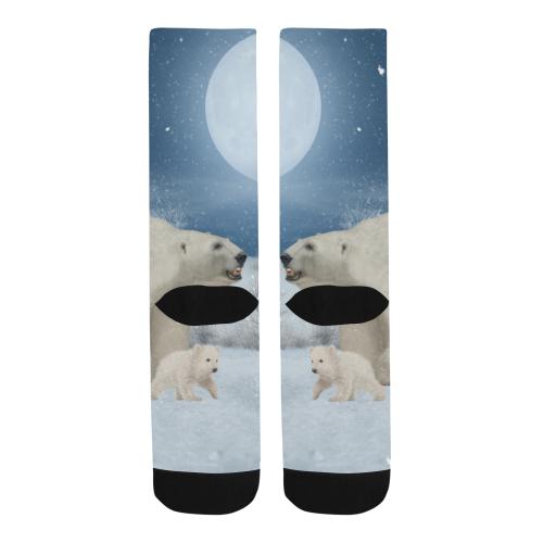 Polar bear mum with polar bear cub Trouser Socks (For Men)