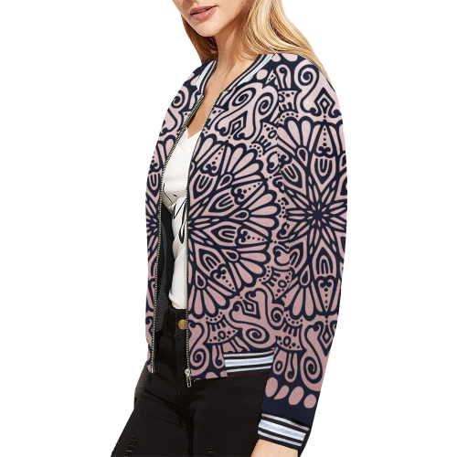 Frosty Princess navy All Over Print Bomber Jacket for Women (Model H21)