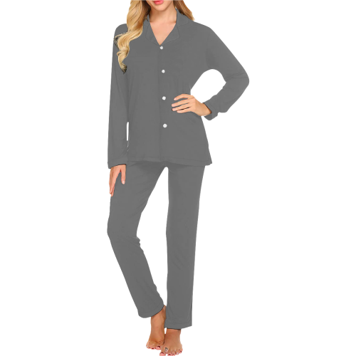 color dim grey Women's Long Pajama Set (Sets 02)