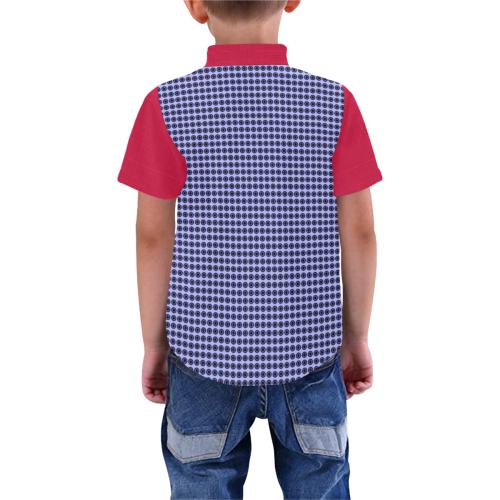 Blue Checks Red Two Tone Boys' All Over Print Short Sleeve Shirt (Model T59)