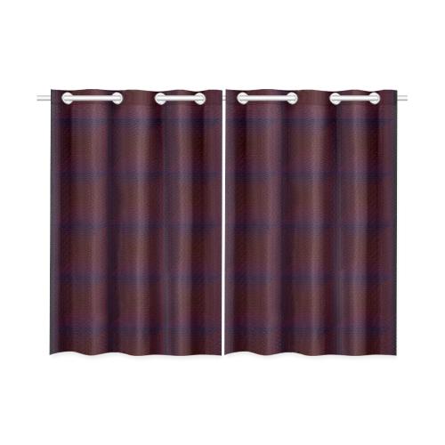 Brown multicolored multiple squares Kitchen Curtain 26'' X 39''(2 Pieces, 1 Design)