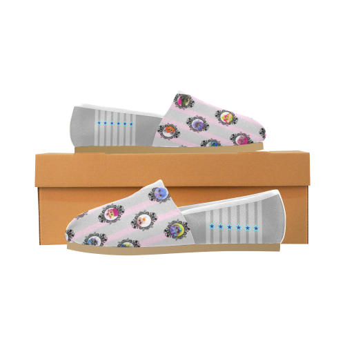 Grid_PinkGray Unisex Casual Shoes (Model 004)