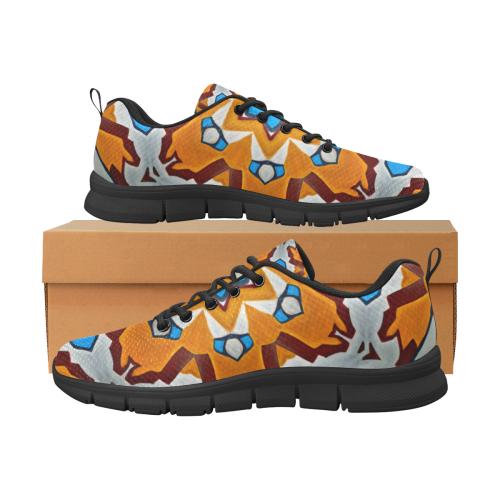 Orange Silver Blue Geometric Mosaic Women's Breathable Running Shoes/Large (Model 055)