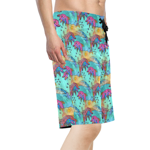 Dolphin Popart by Nico Bielow Men's All Over Print Board Shorts (Model L16)