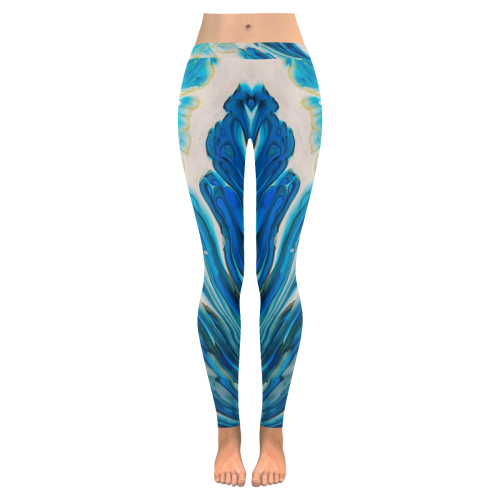 blue feathers Low Rise Leggings (Invisible Stitch) (Model L05)