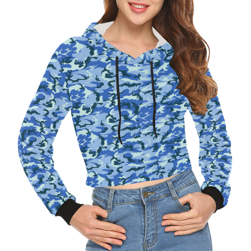 Woodland Blue Camouflage All Over Print Crop Hoodie for Women (Model H22)
