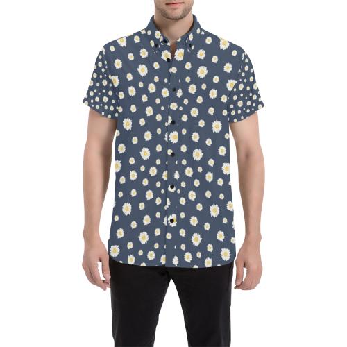 Botanical Daisy Men's All Over Print Short Sleeve Shirt (Model T53)