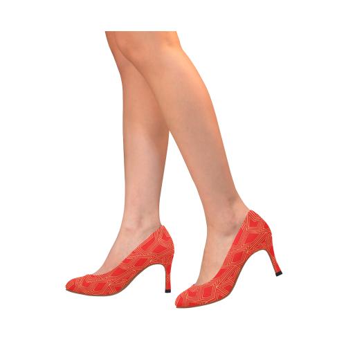 Golden ZigZag shapes deep red Women's High Heels (Model 048)