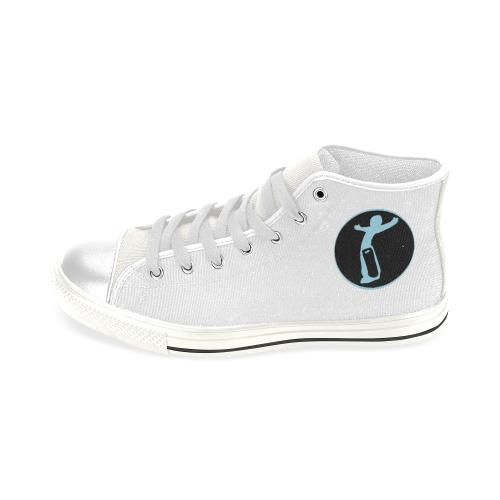 DW White/Blue Love Men's Classic High Top Canvas Shoes (Model 017)