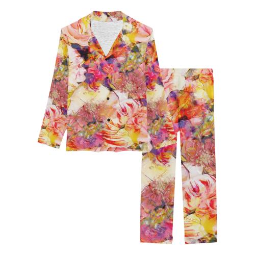 flowers #flowers #pattern Women's Long Pajama Set (Sets 02)